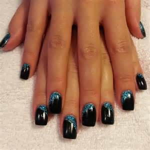 An acrylic backfill and a led polish manicure in abyss