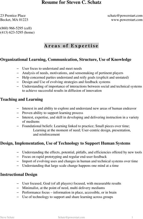 Areas Of Expertise Resume by Resume For Steven C Schatz Areas Of Expertise Pdf