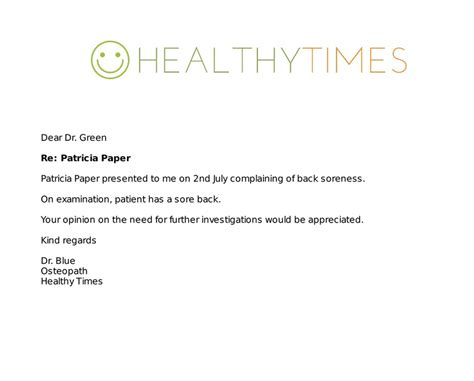 allied health letter templates