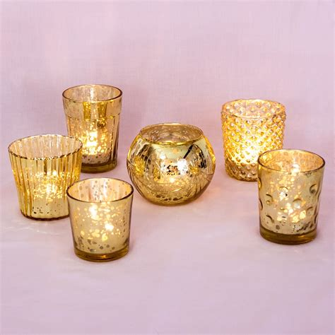 mercury glass candle holders best of show gold mercury glass candle holders set of 6