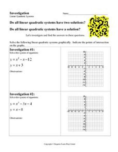 investigation linear quadratic systems 9th 12th grade worksheet lesson planet