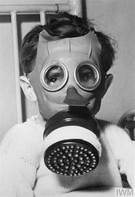 World War Gas Masks with Children Photo