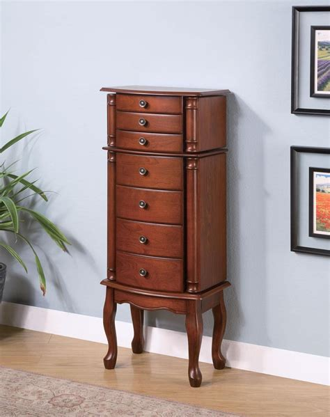 Brown Armoire by Warm Brown Jewelry Armoire 900125 From Coaster 900125