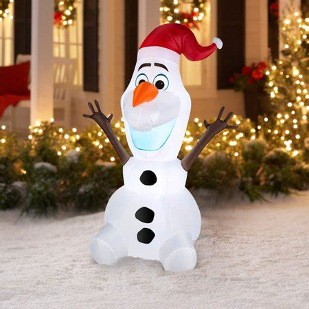 airblown inflatable olaf  santa hat christmas