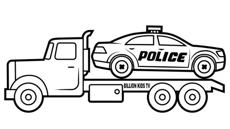 drawing police car carrier truck coloring  kids youtube