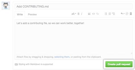 github pull request template creating a pull request user documentation