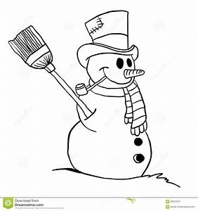 Simple Black And White Snowman Stock Vector - Image: 69912910