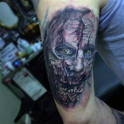 zombie tattoos tattoo face horror realistic arm dead walking designs mens looking colored evil bite cool tattooimages biz voodoo masculine