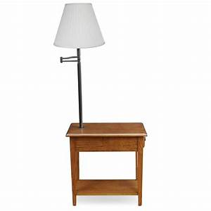 Leick chair side lamp table with drawer medium oak for Table lamp in kitchen