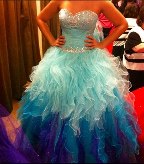 light blue tiered skirt ball gown prom dresses
