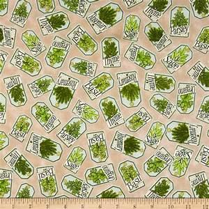 Herb Garden Labels Tan - Discount Designer Fabric - Fabric com