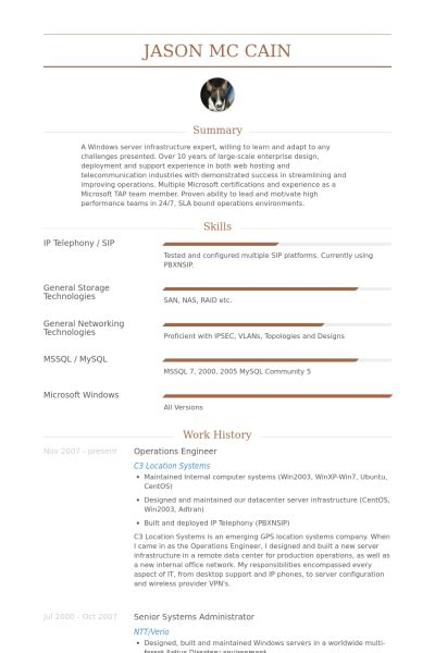 Cloud Operations Engineer Resume by Operations Engineer Resume Sles Visualcv Resume