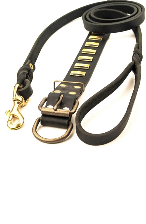 designer collars leashes designer leather collar with small brass plates and