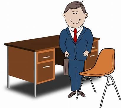 Teacher Manager Desk Between Chair Clip Clker
