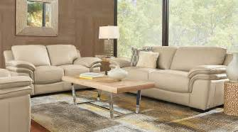 cindy crawford home grand palazzo beige leather 5 pc