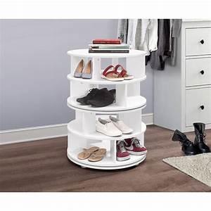 Furinno, Revolving, 4, Tier, Shoe, Rack, Organizer, White, Wood, Contemporary, -, Walmart, Com