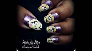 easy teddy bear nail art - YouTube