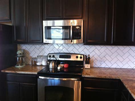 Home Design: Beautiful Brown Herringbone Backsplash With