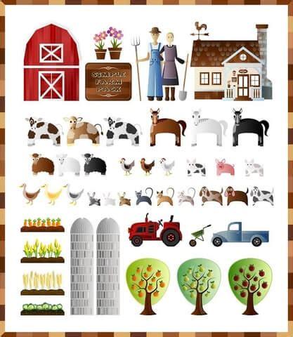 farmers barn  farm animals paper collage template