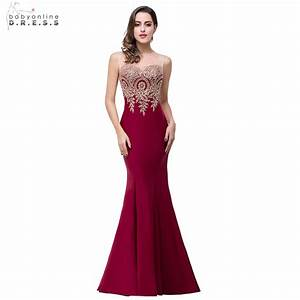 real photos 2017 mermaid sheer neck burgundy satin cheap With robe de soirée longue 2017