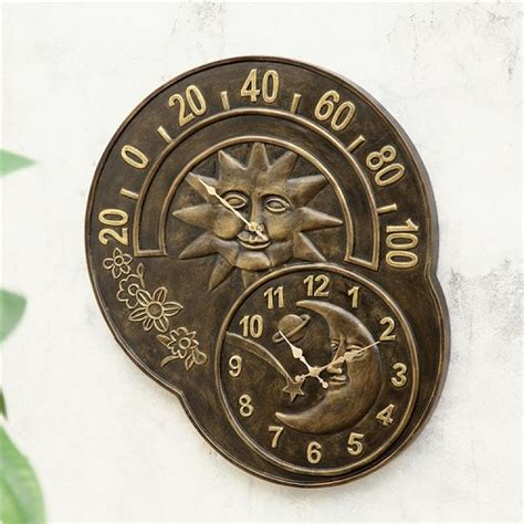sun moon clock thermometer celestial wall garden