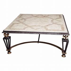 metal and marble square coffee table for sale at 1stdibs With metal coffee tables for sale
