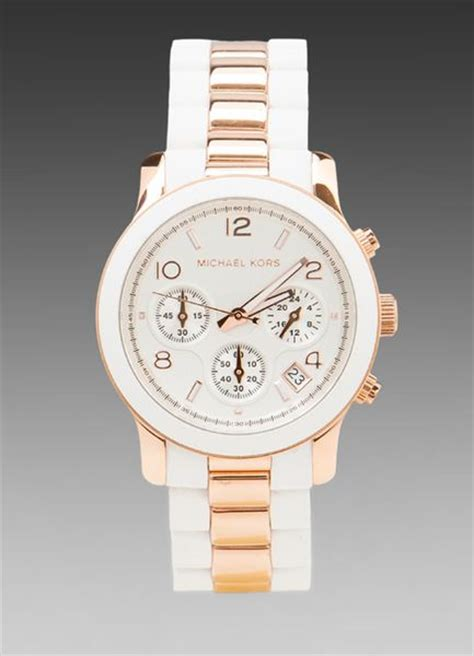 Fossil Fs02 Gold Plat White michael kors runway chronograph in whiterose gold in