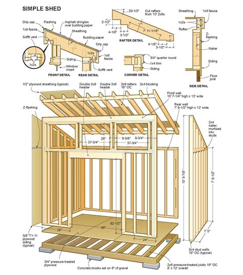 8 X 10 Slant Roof Shed Plans by Lowes Shed Blueprints