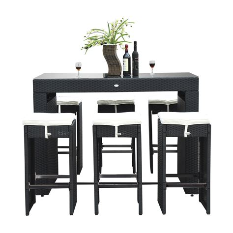 Outsunny Patio Furniture Canada by 7pc Rattan Wicker Bar Set Patio Furniture Bistro Dining