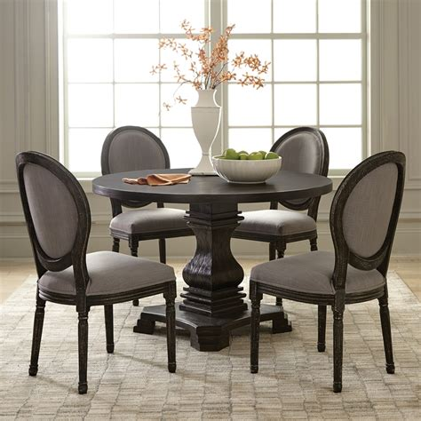 black round dining table and chairs shop scott living antique black round dining table at