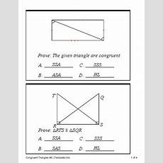 Triangle Congruence Proofs  Sss, Sas, Asa, Aas And Hl (quiz) Tpt