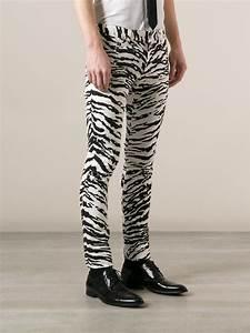 Jeans Pocket Design Lyst Saint Laurent Zebra Print Skinny Jean In Black For Men