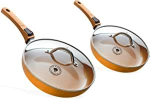 amazoncom premium     copper ceramic  stick frying pans innovative