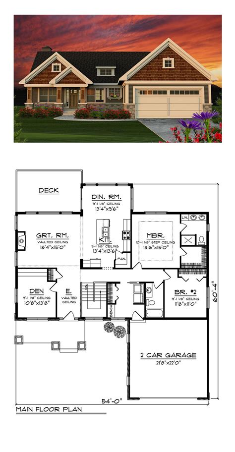 traditional style house plan    bed  bath  car garage craftsman house plans