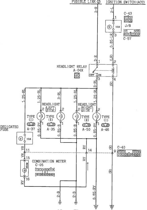 Mitsubishi Headlight Wiring Diagram by I Need Info On The Headl Lighting Circuit Suspect My