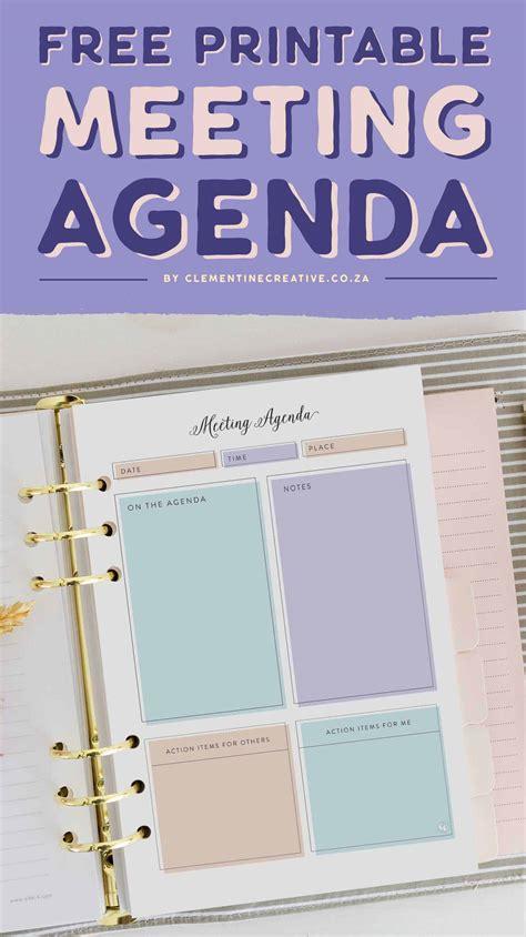 stylish feminine printable meeting agenda template