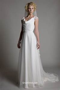 amazing cowl neckline cap sleeves spring chiffon sheer With sheer neckline wedding dress