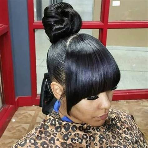 Black Hairstyles With Bangs And Buns by 33 Best Buns Bangs Ponytails Updos Images On
