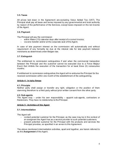 transfer pricing agreement template agency agreement exle template
