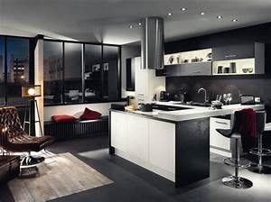 noir et blanc habillent la cuisine elle decoration With meuble de salle a manger avec cuisine Équipée noir et blanc