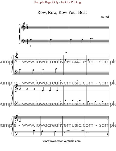 Row Your Boat Piano Sheet Music by Free Piano Sheet Music Row Row Row Your Boat