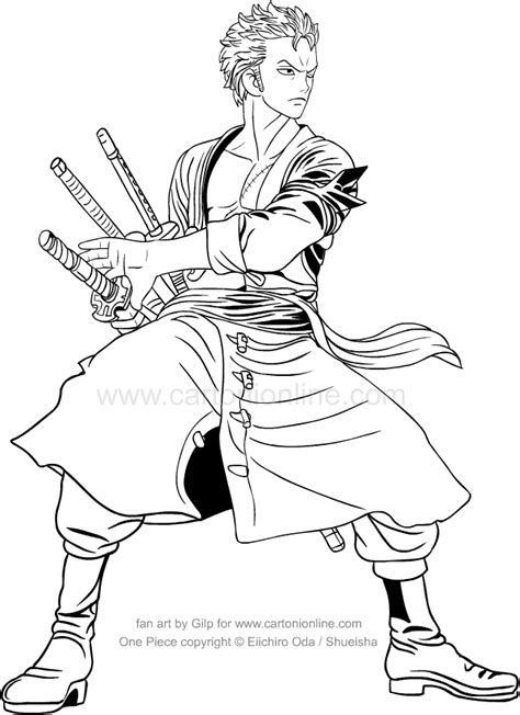 drawing roronoa zoro   piece coloring page