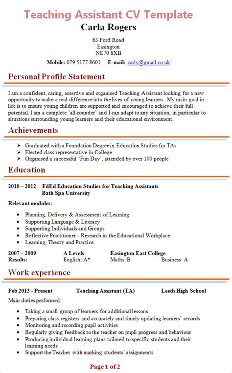 Ta Resume by Teaching Assistant Cv Exle