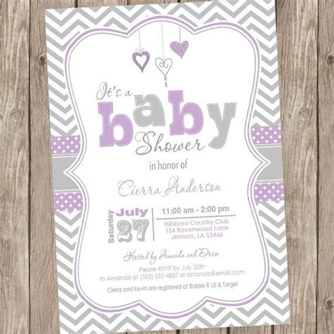 Purple Baby Shower Invitations by Purple And Grey Baby Shower Invitation Chevron By