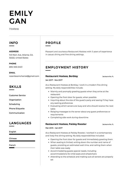 Sle Hostess Resume resume restaurant hostess exle template cv