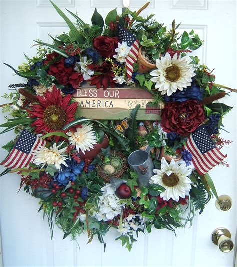 xxl patriotic door wreath   july wreath floral
