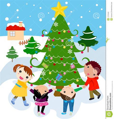 children around a beautiful festive christmas tre stock