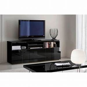 Buffet Meuble TV GLOSSY Noir 3 Portes 4 Niches Achat