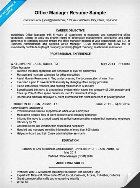 Office Manager Resume Sample  Resume Companion. Google Doc Resume Template. Microsoft Word Resume Template Download. What Are Good Skills To List On A Resume. How To Fill Out A Resume For High School Students. Entry Level Receptionist Resume. Lab Technician Resume. Retail Duties For Resume. What Is The Profile In A Resume