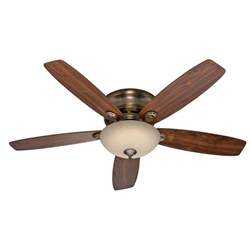 52 quot low profile flush mount ceiling fan brushed bronze with led light ebay